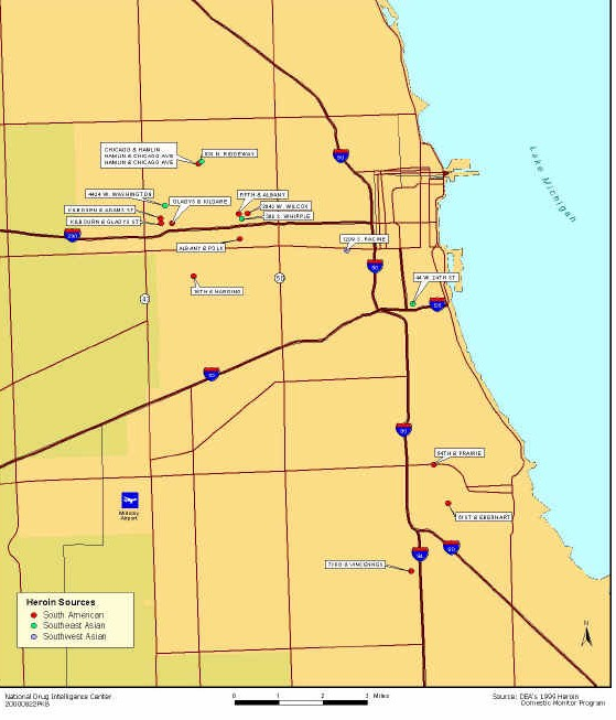 Heroin Illinois Drug Threat Assessment - Price map of heroin to the us