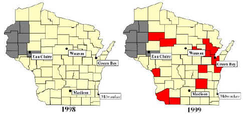 Two maps of Wisconsin broken down by counties showing comparison of ...
