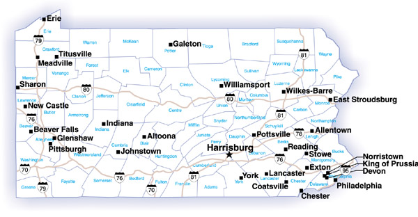 Map of the state of pennsylvania showing counties interstate highways