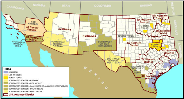 Appendix A Ocdetf Region Summaries National Drug Threat - Map-southwest-region-us