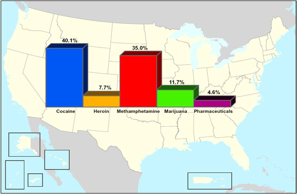 U S Map Showing The Greatest Drug Threat As Reported By State And Local Agencies In The