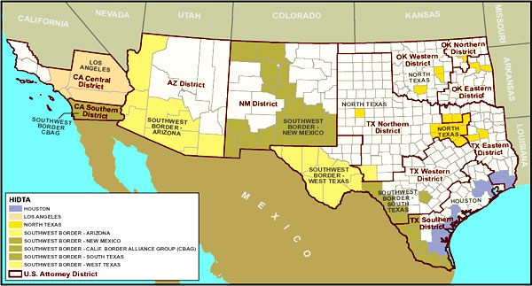 Organized Crime Drug Enforcement Task Force Region Methamphetamine - Us southwest map