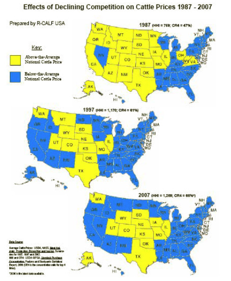 Maps showing 'Effects of Declining Competition on Cattle Prices 1987-2007'.