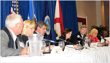 DOJ/USDA Ag Workshop in Normal, Alabama. (L-R) Garry Staples, a poultry producer from Steele, Alabama, Carole Morison, a former poultry producer from Maryland, Gary Alexander, a poultry producer from Westminster, South Carolina, Assistant Attorney General Christine Varney, Agriculture Secretary Tom Vilsack, Kay Doby, a former poultry producer from Cameron, North Carolina, and Robert Lumzy, a former poultry producer from Columbia, Mississippi.