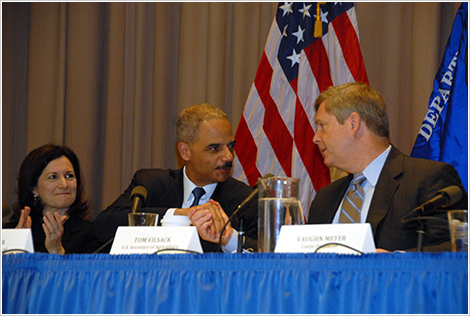 Assistant Attorney General Christine Varney, Attorney General Eric Holder, and Agriculture Secretary Tom Vilsack wrap up the historic USDA/DOJ workshops in Washington, D.C., December 8, 2010.