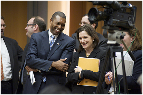 Tony West, Assistant Attorney General Civil Division, and Christine Varney, Assistant Attorney General Antitrust Division, after a joint initiatives meeting.