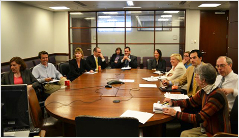 Trial debriefing in the National Criminal Enforcement Section. (L-R) Mary Strimel, William Martin, Lisa Phelan, Jason Jones, Nancy Jacquish, Matthew Lunder, Katie Hellings, Jessica Lefort, Nancy McMillen, Richard Hellings, Katherine Schlech, and Kenneth Gaul.