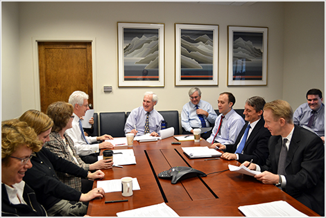 Gene Kimmelman, Chief Counsel for Competition Policy and Intergovernmental Relations, meeting with Division leadership. (L-R) Patricia Brink, Fiona Scott-Morton, Rachel Brandenburger, Joe Wayland, Gene Kimmelman, Mark Ryan, Jeffrey Wilder, John Read, David Kully, W. Robert Majure.