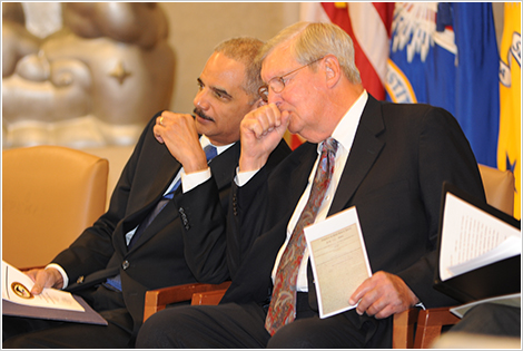 Attorney General Eric Holder and former Assistant Attorney General James F. Rill at the 2012 Sherman Award Ceremony