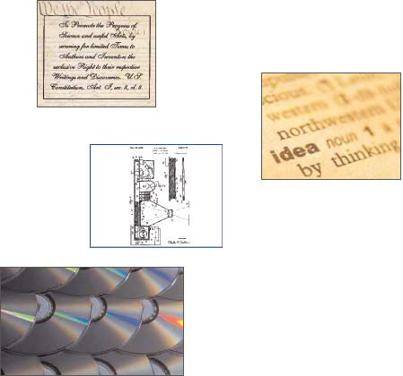Photos: Excerpt of the Constitution, definition of idea, Electron Photography patent schematic and CDs
