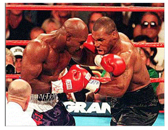 Image of Mike Tyson and Evander Holyfield boxing