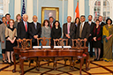 Thumbnail of India MOU signing. Click to see the photo gallery.