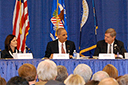 (L-R) Iowa Attorney General Tom Miller, Representative Leonard Boswell of Iowa, Assistant Attorney General Christine Varney, U.S. Attorney General Holder, U.S. Agriculture Secretary Tom Vilsack, Senator Chuck Grassley of Iowa, Iowa Lt. Governor Patty Judge and Iowa Agriculture Secretary Bill Northey participate in a roundtable panel at the joint Department of Justice/Department of Agriculture workshop in Iowa.