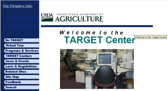 A screen print of the US Department of Agriculture TARGET Center Home page.