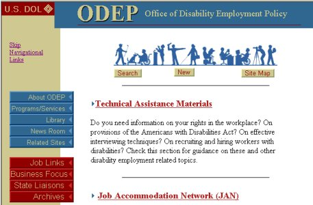 A screen print of the US Department of Labor Office of Disability Employment Policy Home page.