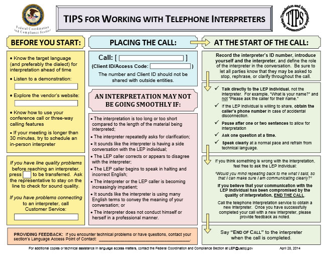 TIPS for Working with Telephone Interpreters