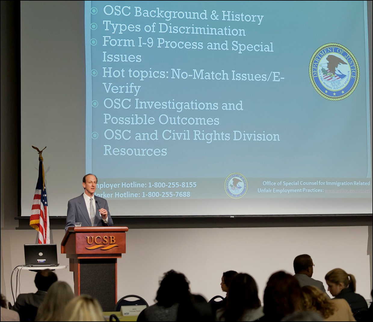 Photo: OSC's Senior Trial Attorney Erik Lang during a presentation as part of the U.S. Department of Labor's Office of Federal Contract Compliance Programs' workshop on 'Creating a Valuable Workforce through Community Partnerships.'