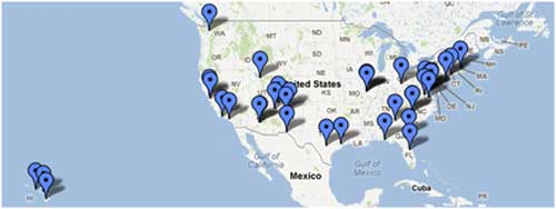 Map of United States with push pins on all locations where OSC conducted outreach