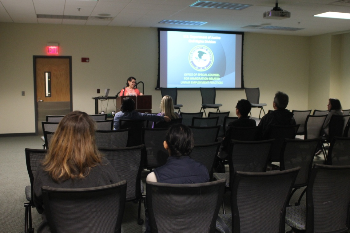 Photo: OSC staff member, Isabel Otero, during a Feb. 2014 presentation to workers and advocates in Augusta, GA.