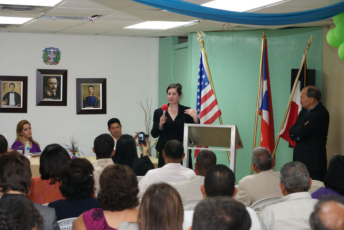 OSC Attorney, Liza Zamd, at an outreach event in San Juan, Puerto Rico for the Dominican Alliance