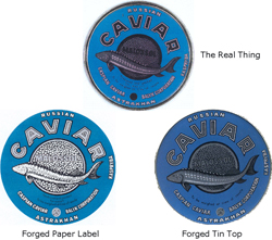 Photograph of two forged caviar labels and a real label on top.