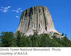 Devils Tower National Monument. Courtesy of NASA.