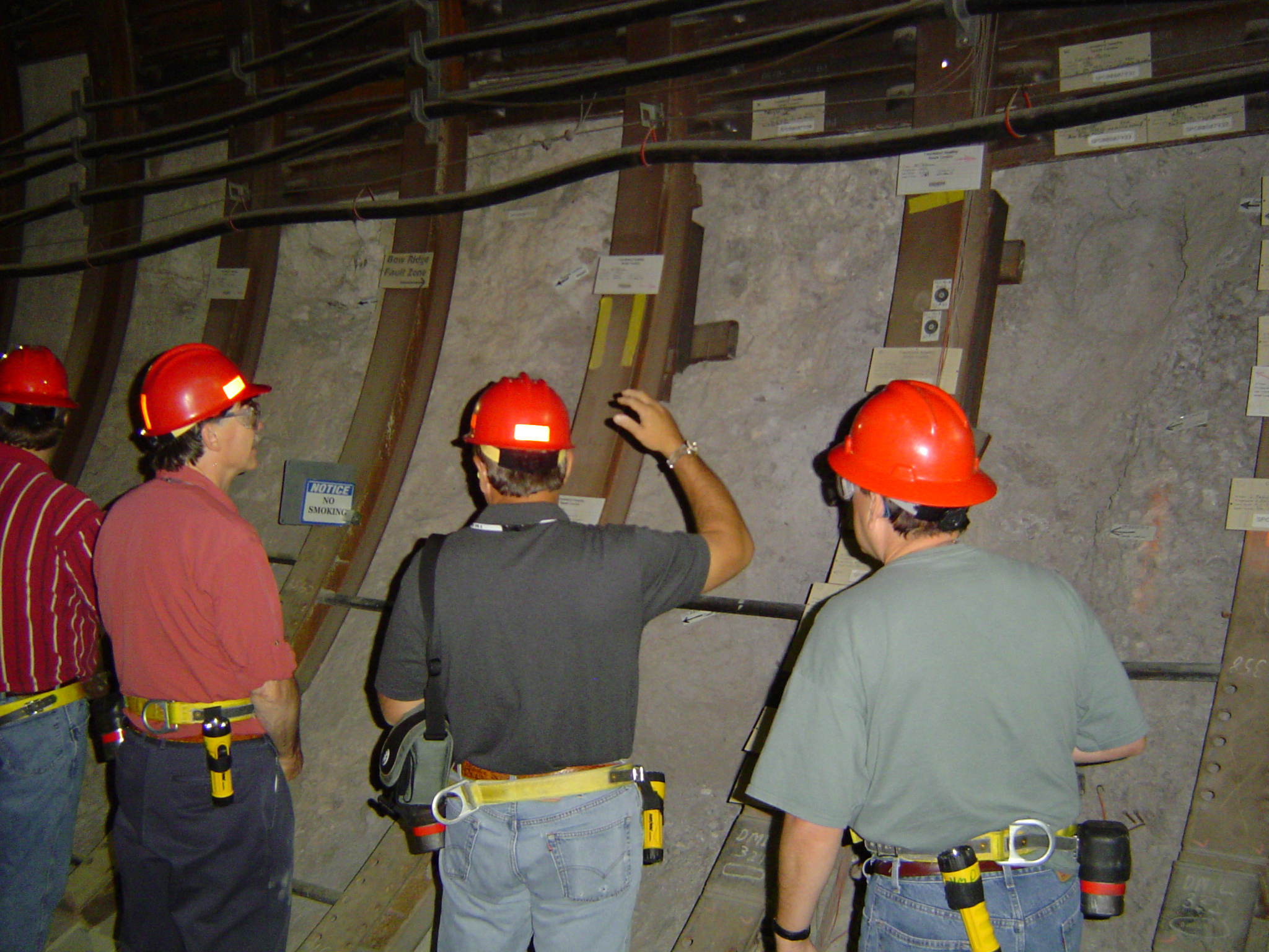 John Bryson and Ron Spritzer inspect Yucca Mountain tunnel. Courtesy of USGS.