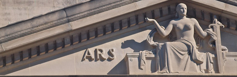Statue of Lady Justice on the Department of Justice Building. Courtesy of Ned Wolff, DOJ.