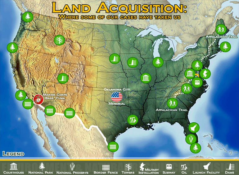 Map of the United States with specific sites where Land Acquisition Section has had notable cases.