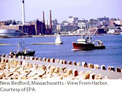 New Bedford, Massachusetts - View from Harbor.  Courtesy of EPA.
