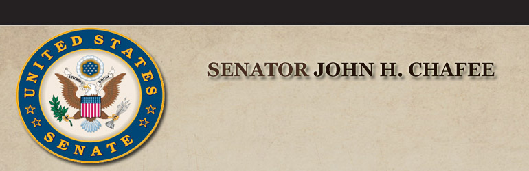 Seal of the U.S. Senate on the left along with the words Senator John H. Chafee