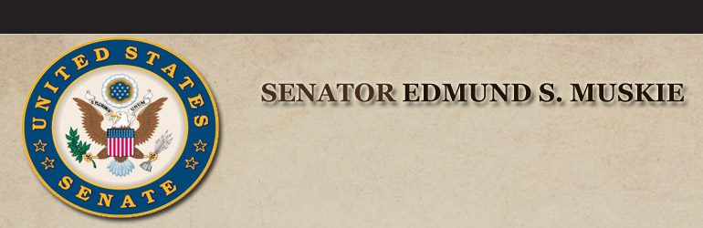 Seal of the U.S. Senate on the left hand side along with the words Senator Edmund S. Muskie
