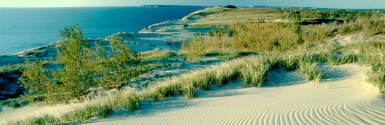 Sleeping Bear Dunes, Lake Michigan Empire, Michigan. Robert De Jonge (courtesy Michigan Travel Bureau) through EPA.