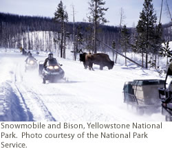 Snowmobile and Bison, Yellowstone National Park. Courtesy of NPS.