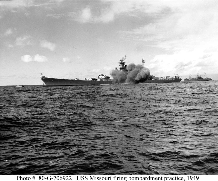 USS Missouri bombardment practice, Vieques Island.  Courtesy of the Naval History and Heritage Command.