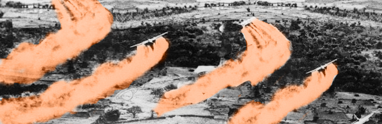 Several fixed wing aircraft spray Agent Orange on a field. Courtesy of NIH.  Photograph has been color enhanced.