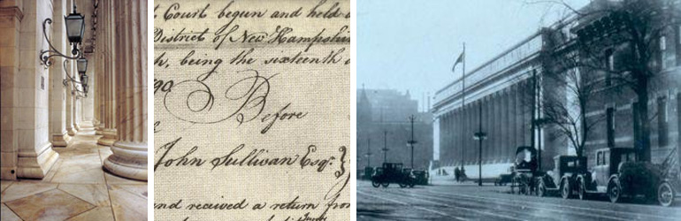 Steps in front of the 10th Circuit Court, portion of an old letter from Judge Sulivan, N.H and old photograph of teh Byron White U.S. Courthouse, U.S. Court of Appeals for the 10th Circuit. Courtesy of U.S. Courts.