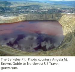 The Berkeley Pit.  Photo courtesy Angela M. Brown, Guide to Northwest US Travel, gonw.com.