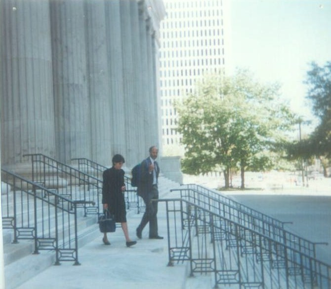 Billy Lazarus and Ellen Durkee leaving Tenth Circuit after argument.