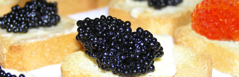various types of caviar.  Courtesy USDA.