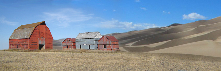Abandoned farm house in a megadrought setting sorrounded by sand dunes. Courtesy of DOE.