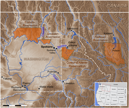 Map of location of Flathead Reservation in Montana. Courtesy of Wikimedia