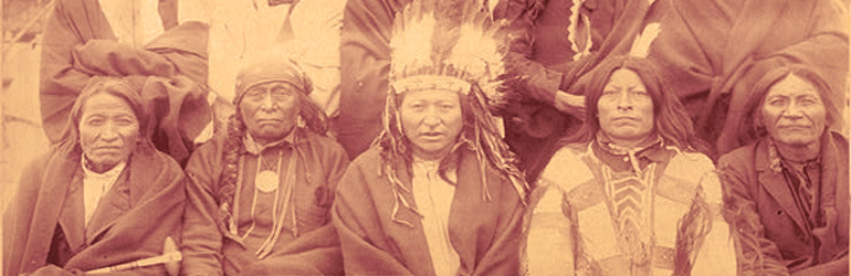 Indian Chiefs who counciled with Gen. Miles and settled the Indian War, from left to right Bear,  Little Thunder,  Bull Dog,  High Hawk,  Lame,  and Eagle Pipe.  Courtesy of the Library of Congress.