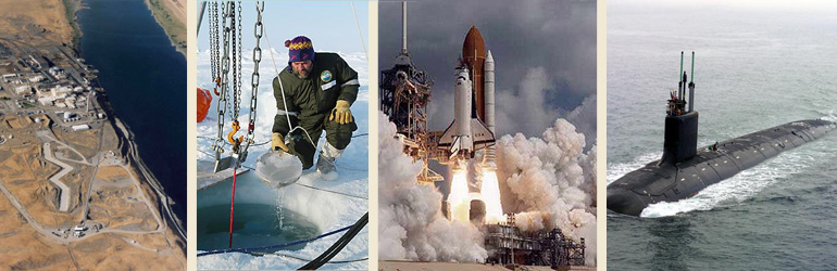A collage of photographs depicting Hanford Site Nuclear Waste; artic researcher; space shuttle and a submarine.