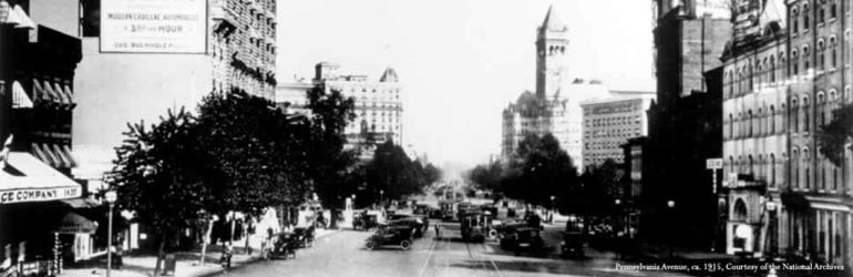 Pennsylvania Avenue, Washington, D.C., looking toward the Capitol from the Treasury Building. ca. 1915.  Courtesy of the National Archives.