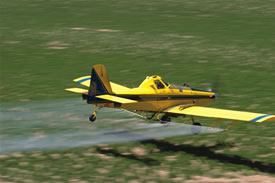 Crop-dusting with pesticides.  Courtesy of the National Institute of Environmental Health Sciences.