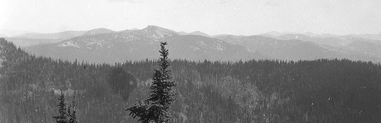 Panorama view . Looking east from Big Snowy toward Priest Lake. Taken at 6200 feet elevation on spur north from Salmo Divide, Sec. 24. Bonner County, Idaho. No date. Courtesy of U.S. Department of the Interior | U.S. Geological Survey