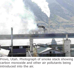 Smoke stack showing carbon monoxide and other air pollutants being introduced into the air.