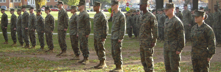 Marines stand at attention at Quantico Marine Base.  Courtesy of Wikipedia Commons.