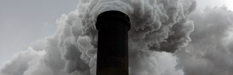 Smokestack at coal burning power plant in Conesville, Ohio, USA.